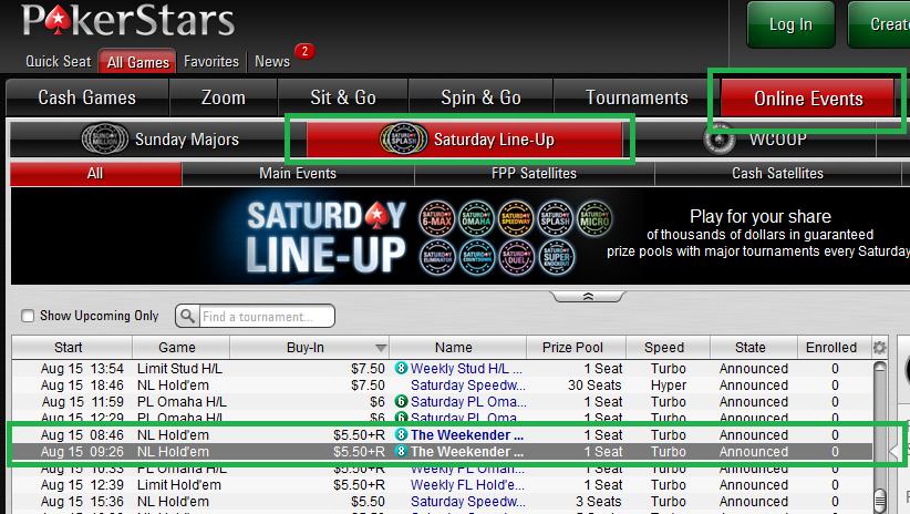 PokerStars The Weekender