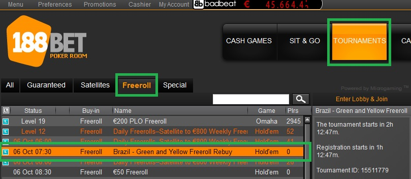 5 out 188bet freeroll
