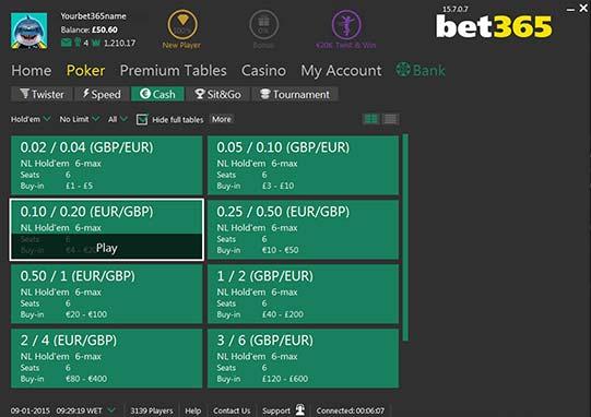 lobby cash games bet365