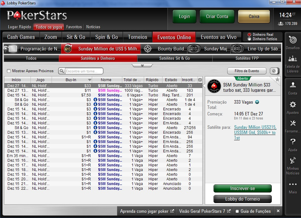 pokerstars lobby sunday million