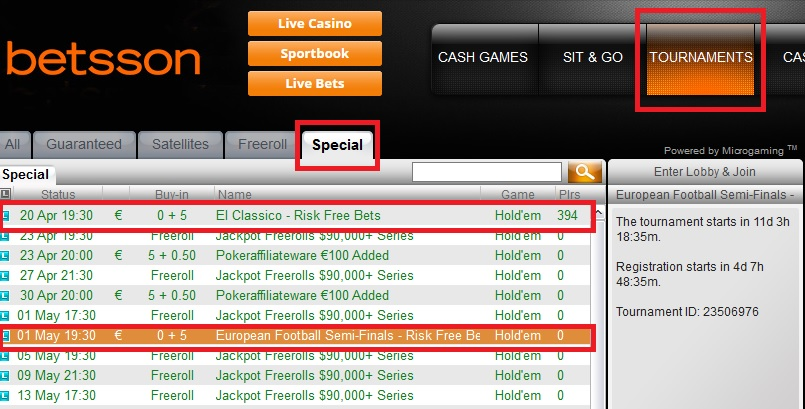 lobby torneios giveaway betsson