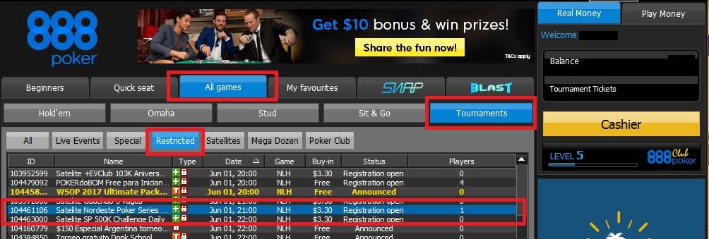 lobby 888poker satelite nordeste poker series
