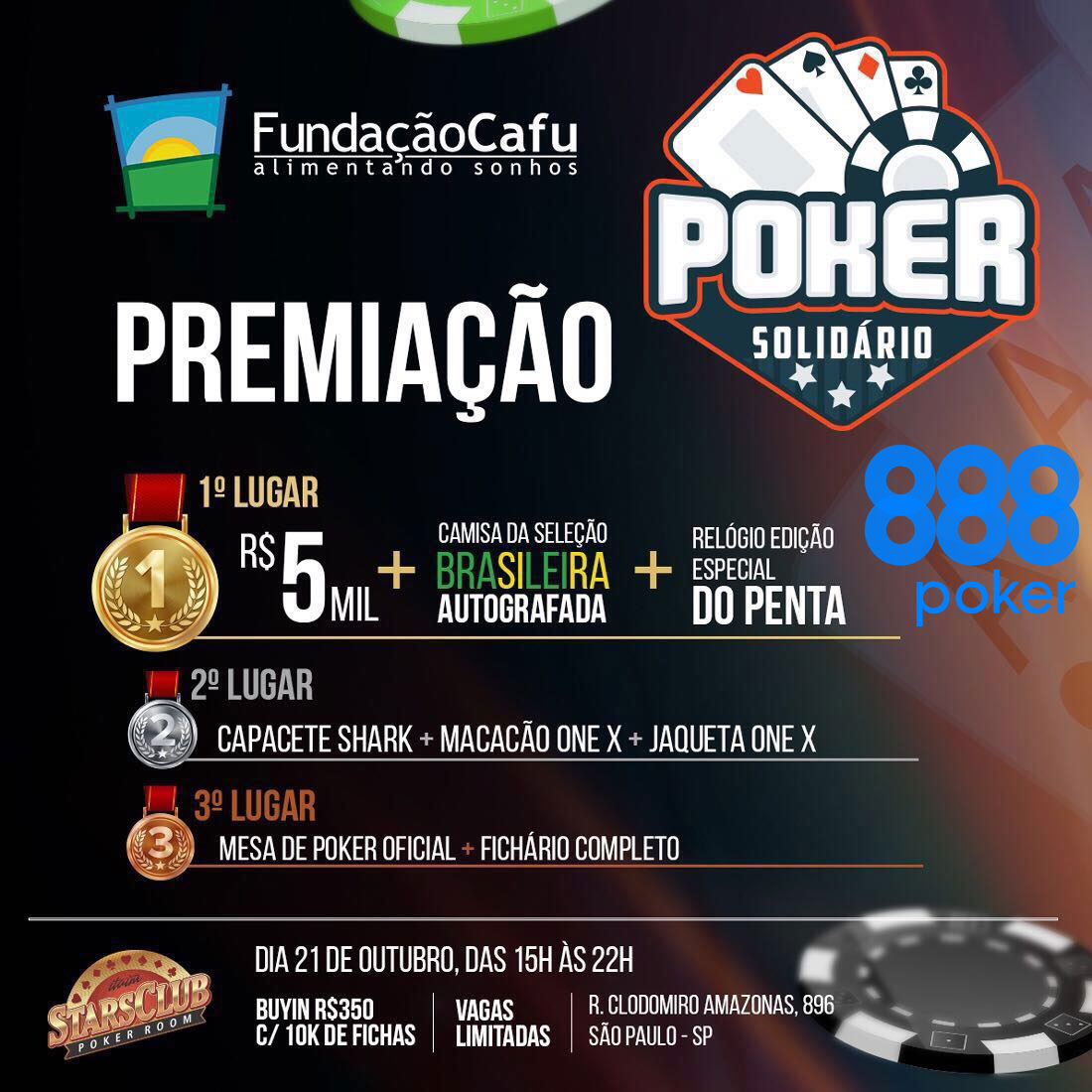 poker solidário fundação cafu stars club