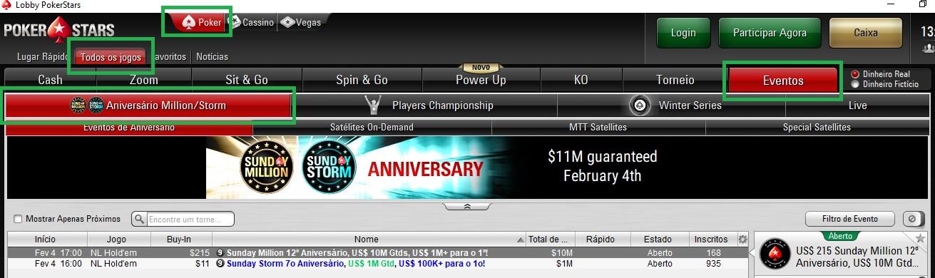 lobby pokerstars sunday million de aniversário