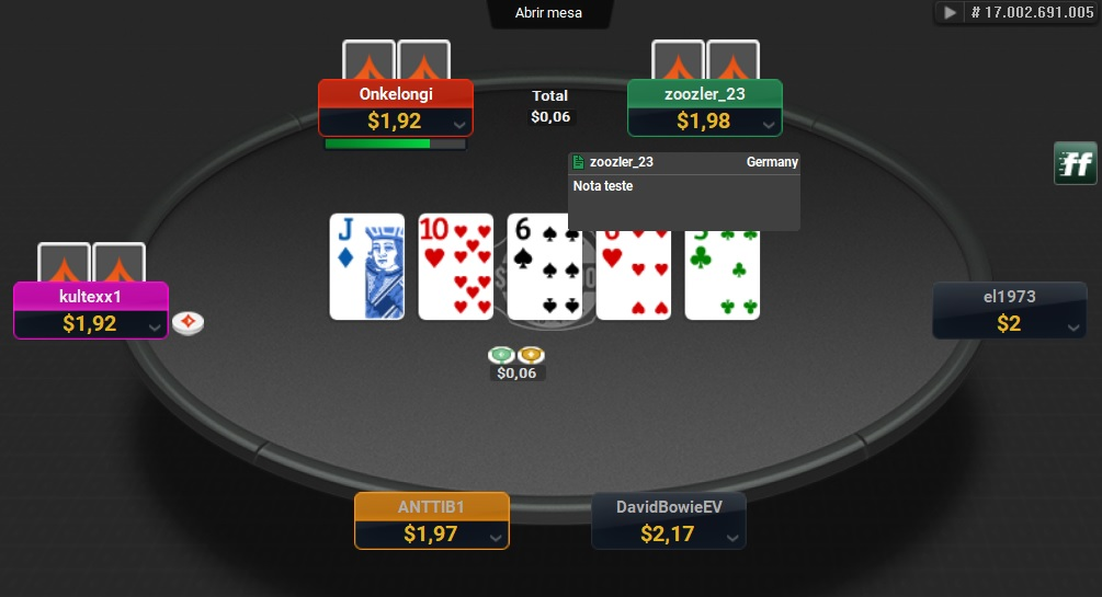 notes color code partypoker