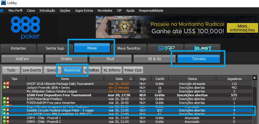 circuito paulista play boutique 888poker lobby