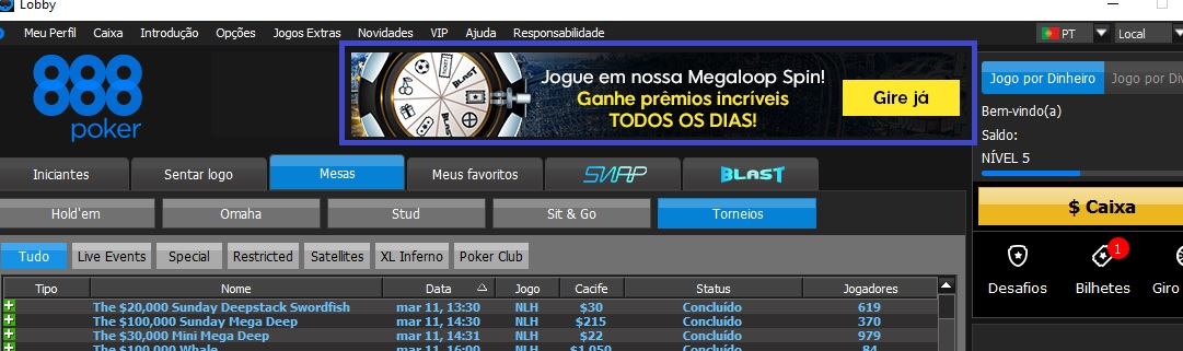 lobby megaloop spin 888poker