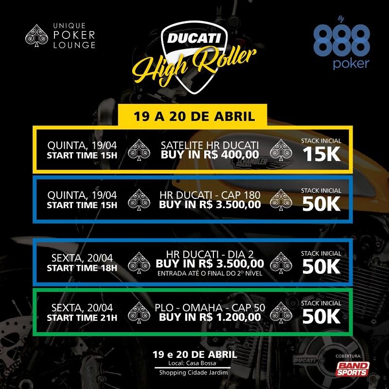 ducati high roller 888poker cronograma