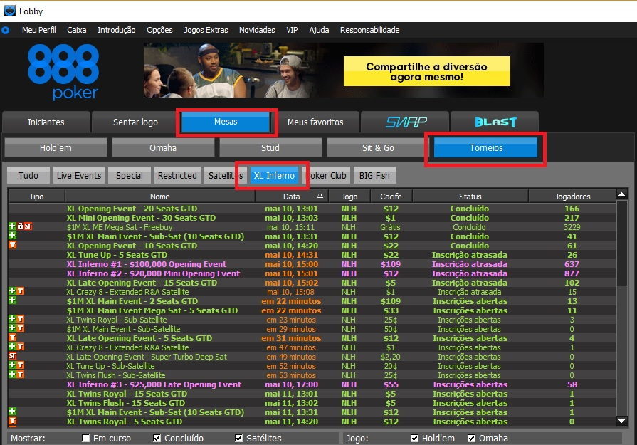 xl inferno 888poker lobby