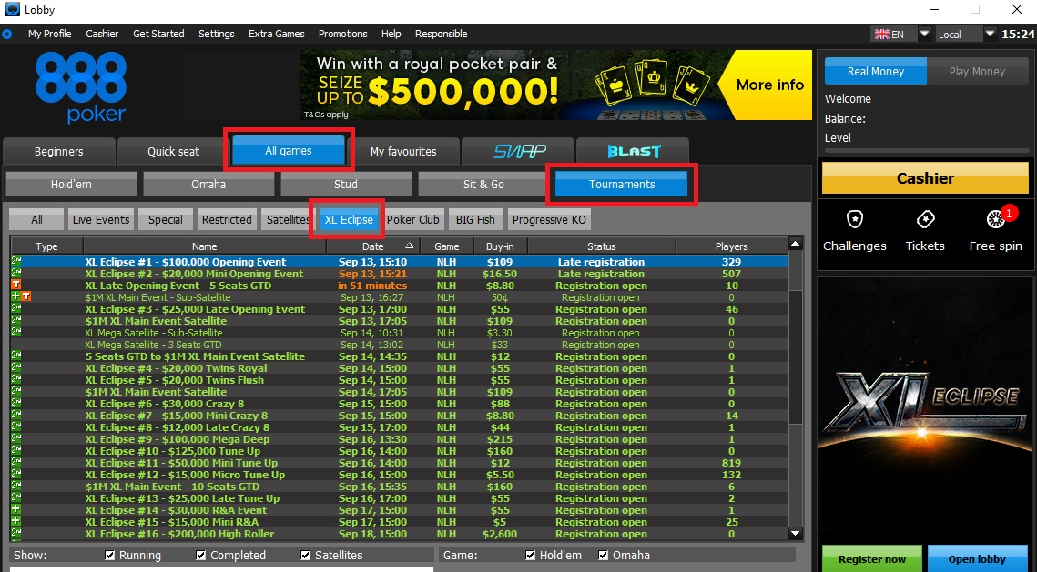 lobby xl eclipse 888poker
