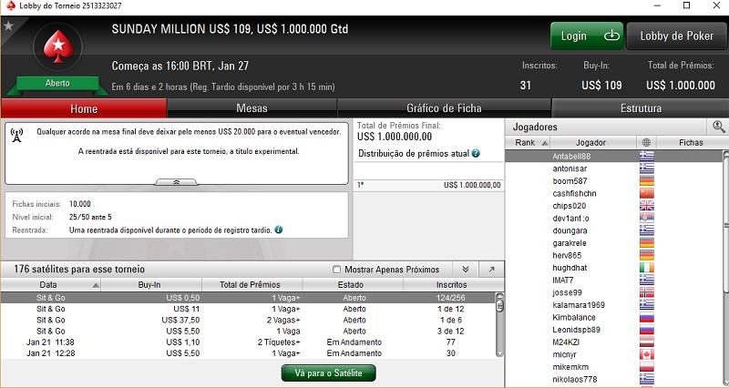 lobby sunday million 109 pokerstars
