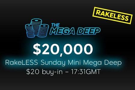 rakeless sunday mini mega deep 888poker 450
