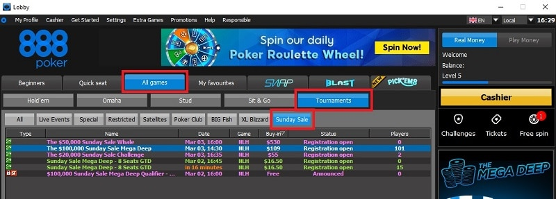 sunday sale 888poker lobby