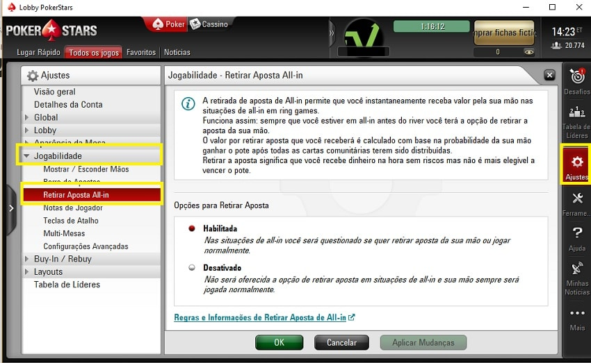 cash out pokerstars ajustes