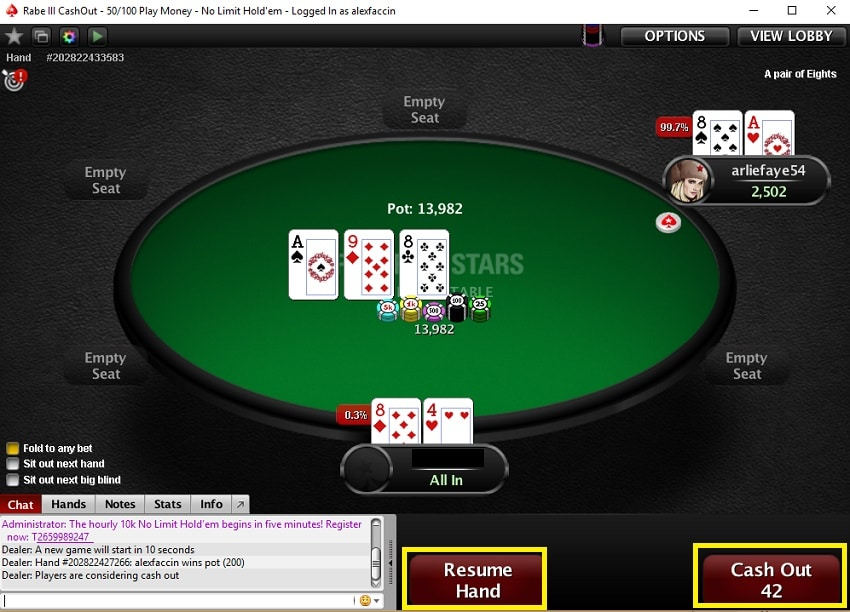 cash out pokerstars mesa