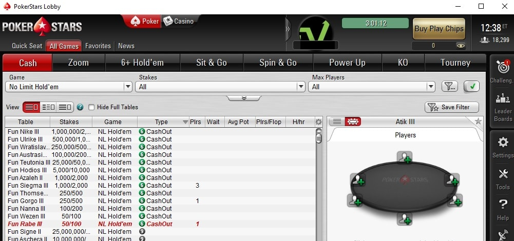 lobby cash out pokerstars