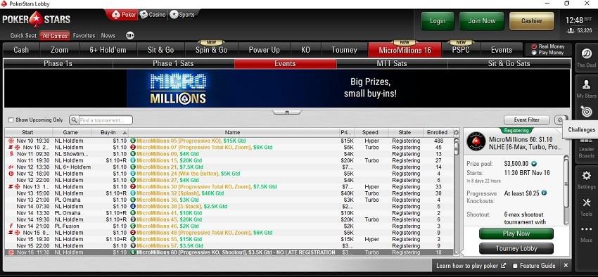 lobby micromillions pokerstars