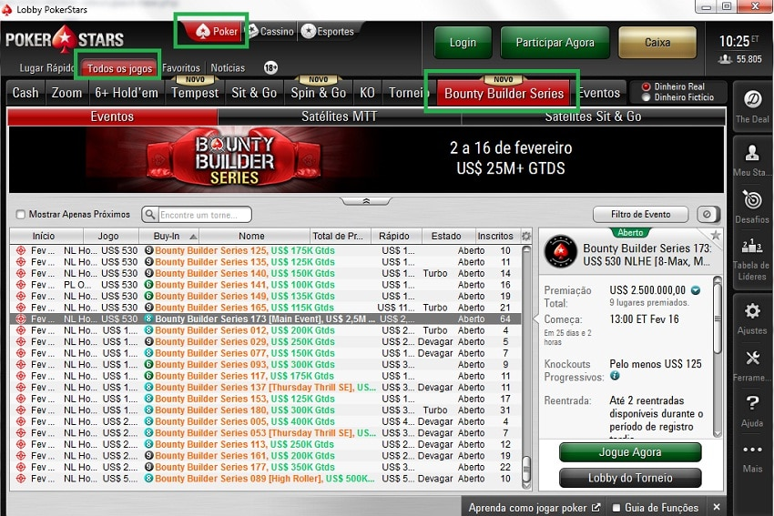 lobby pokerstars bounty builder series