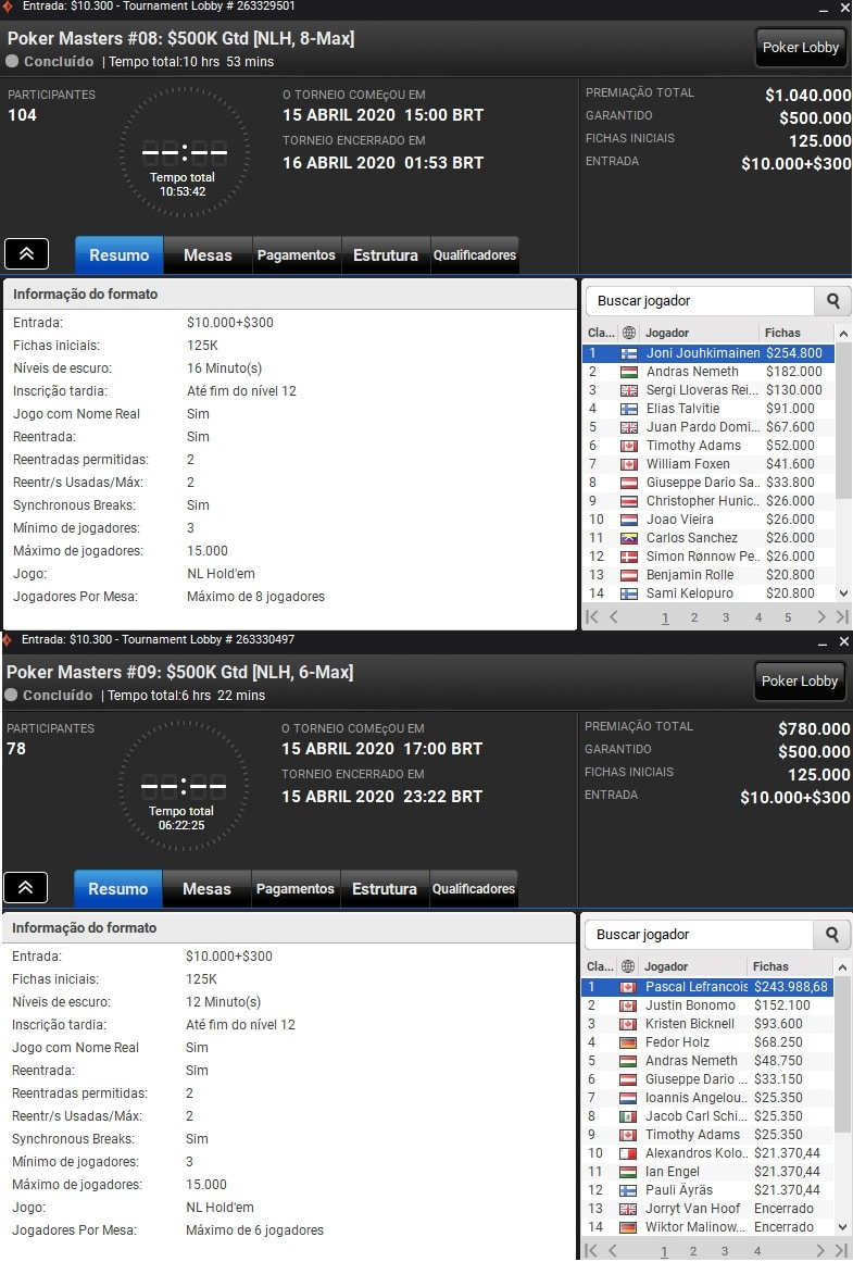 resultados poker masters online 8 e 9