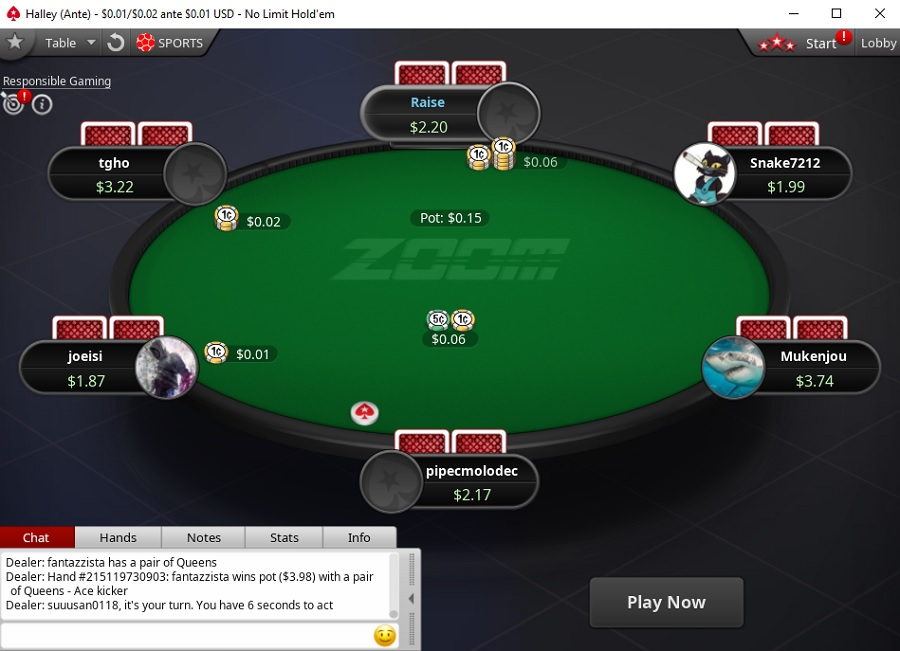 zoom ante pokerstars NL2
