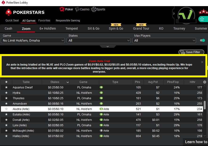 zoom ante trial pokerstars 2